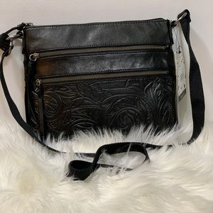 The Sak Reseda Leather Black Leaf Embossed Bag